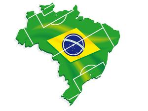 Brazil Map Flag Soccer by talitha
