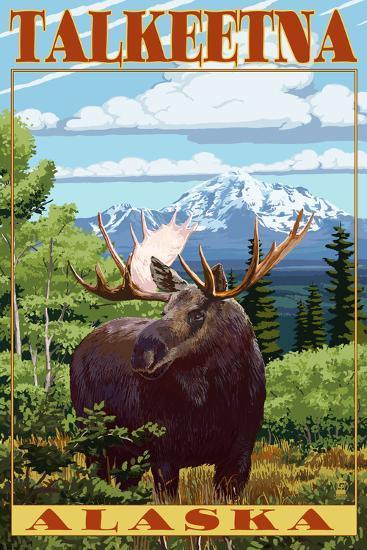 Talkeetna, Alaska - Moose Scene-Lantern Press-Art Print