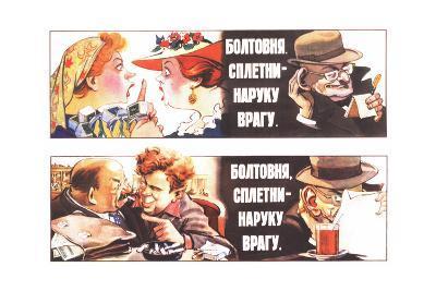 Talks, Rumours are to the Foe's Good, 1954-Veniamin Markovich Briskin-Giclee Print