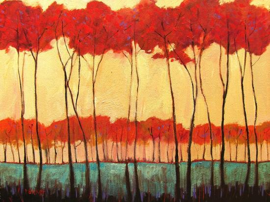 Tall Red Trees-Patty Baker-Art Print