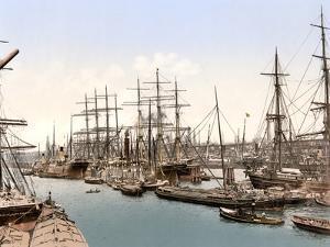 Tall Ships and Barges Docking at Hamburg, Pub. C.1895