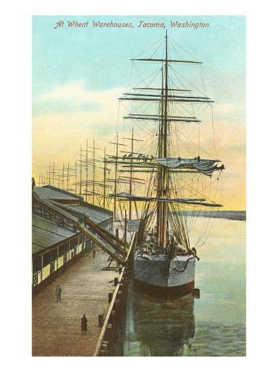 Tall Ships at Wheat Warehouse, Tacoma, Washington--Art Print