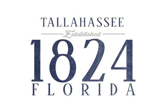 Tallahassee, Florida - Established Date (Blue)-Lantern Press-Art Print