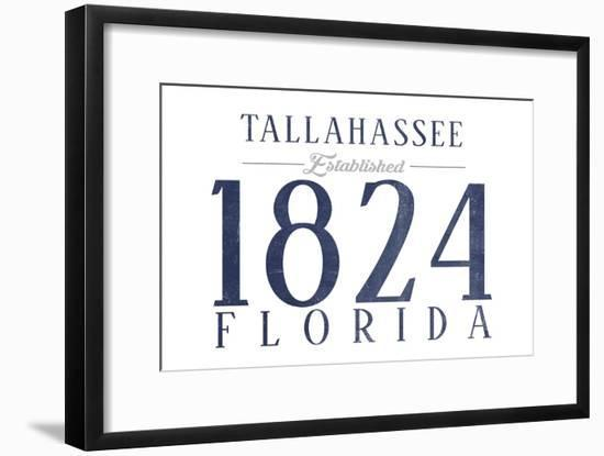 Tallahassee, Florida - Established Date (Blue)-Lantern Press-Framed Art Print