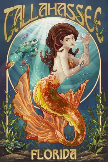 Tallahassee, Florida - Mermaid-Lantern Press-Art Print