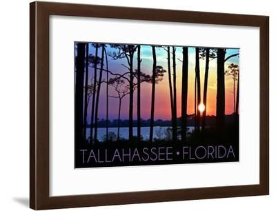 Tallahassee, Florida - Sunset and Silhouette-Lantern Press-Framed Art Print
