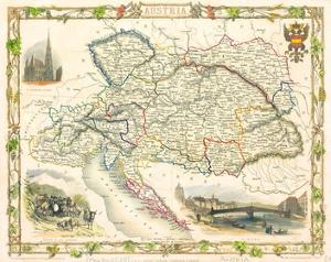 Austria - Östereich Map 1851 by Tallis