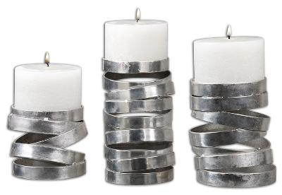 Tamaki Silver Candleholders, S/3--Home Accessories