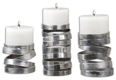 Tamaki Silver Candleholders, S/3