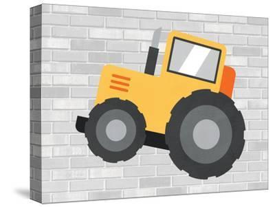 Canvas Bucket Loader Unloading Gravel into Dump Truck Art print POSTER