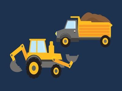 Construction Wash Brush Trucks by Tamara Robinson