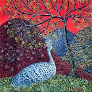 Peacock with Locusts, 1989 by Tamas Galambos