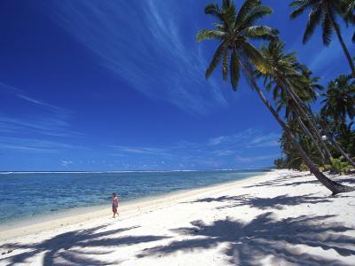 Tambua Sands Resort, Girl on Beach and Coconut Palm Trees, Coral Coast, Melanesia-David Wall-Photographic Print