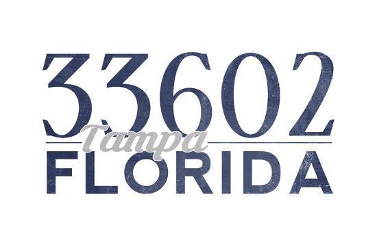 Tampa, Florida - 33602 Zip Code (Blue)-Lantern Press-Art Print