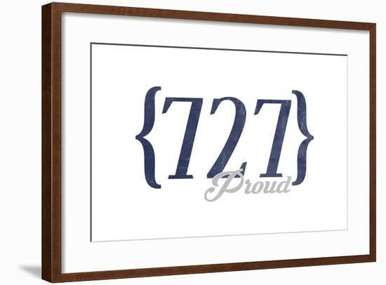 Tampa, Florida - 727 Area Code (Blue)-Lantern Press-Framed Art Print