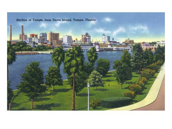 Tampa, Florida - Davis Island, Skyline View-Lantern Press-Art Print