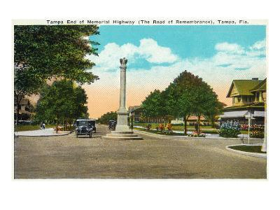 Tampa, Florida - Memorial Hwy, Road of Remembrance Scene-Lantern Press-Art Print