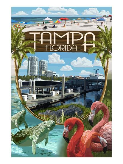 Tampa, Florida - Montage-Lantern Press-Art Print