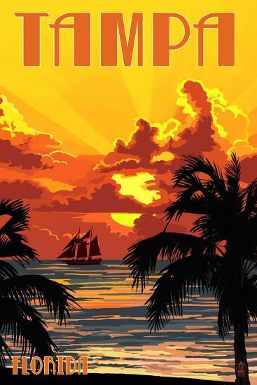 Tampa, Florida - Sunset and Ship-Lantern Press-Art Print