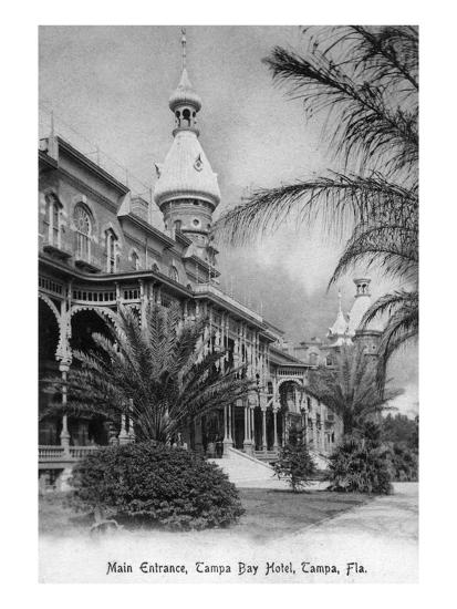 Tampa, Florida - Tampa Bay Hotel Main Entrance View-Lantern Press-Art Print