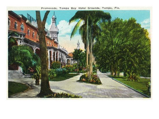 Tampa, Florida - Tampa Bay Hotel Promenade Scene-Lantern Press-Art Print