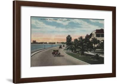 Tampa, Florida - View of Bayshore Blvd-Lantern Press-Framed Art Print