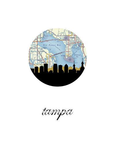 Tampa Map Skyline--Art Print