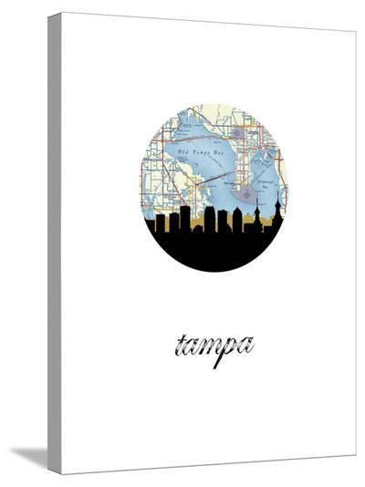 Tampa Map Skyline-Paperfinch 0-Stretched Canvas Print