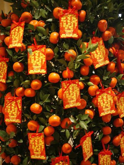 Tangerine Good Luck Symbols, Chinese New Year Decoration, Macao, China, Asia--Photographic Print