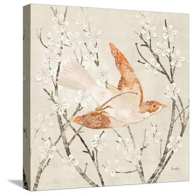 Tangerine Linen Bird--Stretched Canvas Print