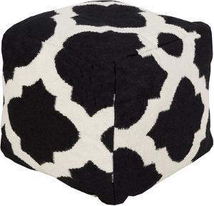 Tangiers Wool Cube Pouf - Black