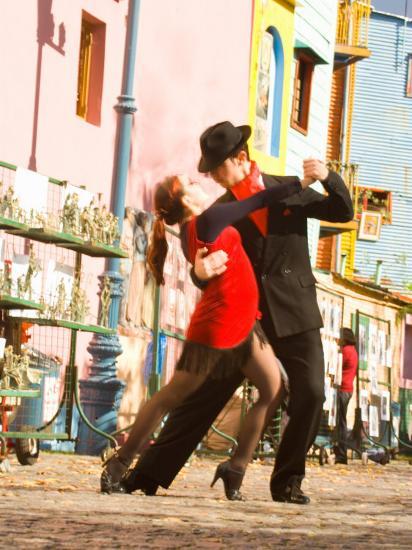 Tango Dancers on Caminito Avenue, La Boca District, Buenos Aires, Argentina-Stuart Westmoreland-Photographic Print