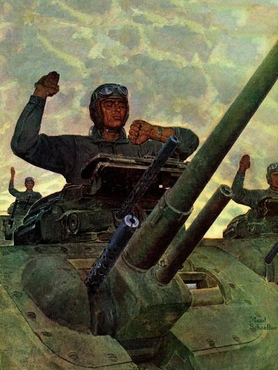 """Tank Attack,"" January 9, 1943-Mead Schaeffer-Giclee Print"