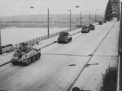 Tanks Cross Nijmegen Bridge--Photographic Print