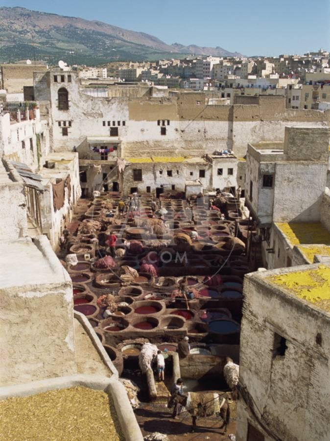 Tanneries, Fez, Morocco, North Africa, Africa Photographic Print by Harding  Robert   Art com