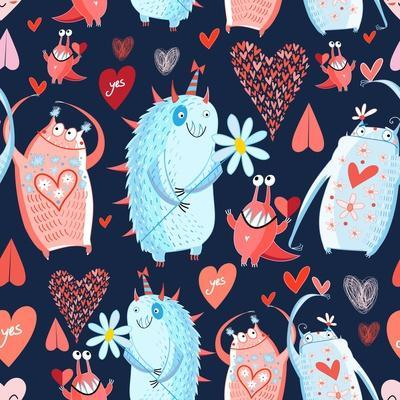 Funny Bright Seamless Vector Pattern with Lovers Monsters