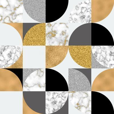 Modern Seamless Geometric Pattern: Semicircles, Circles, Squares, Grunge, Digital Marble Paper, Glo