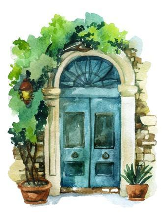 Watercolor Traditional Old-Fashioned Door with Potted Flowers, Brick Stones and Lantern. Rustic Doo