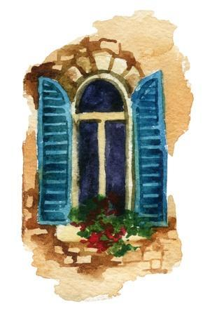 Watercolor Traditional Old-Fashioned Window with Potted Flowers on Brick Wall. Rustic Window with O