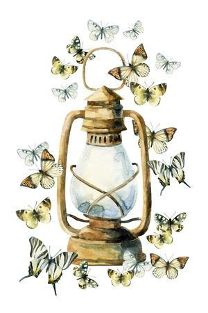 Watercolor Vintage Lamp with Butterfly on White Background. Colorful Butterfly and Rusty Lamp. Wate