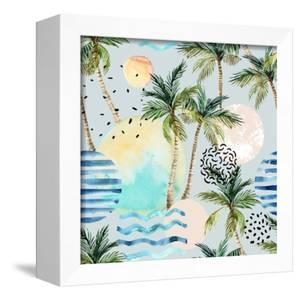 Abstract Pattern of Watercolor Circles, Stripes, and Palm Trees by tanycya