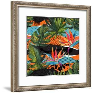 Abstract Tropical Summer Pattern - Watercolor Exotic Flower, Monstera, and Palm Leaves by tanycya