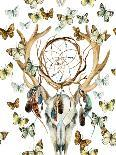 Watercolor Antler with Flowers, Leaves and Herbs-tanycya-Art Print