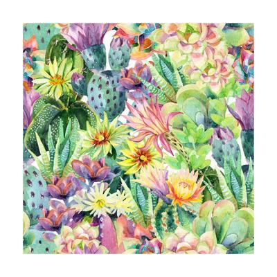 Exotic Cacti with Flowers Pattern - Succulents