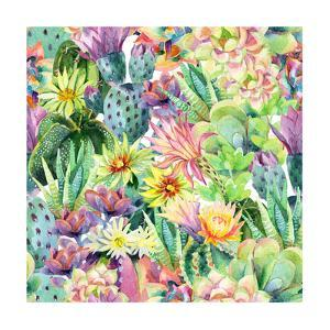 Exotic Cacti with Flowers Pattern - Succulents by tanycya