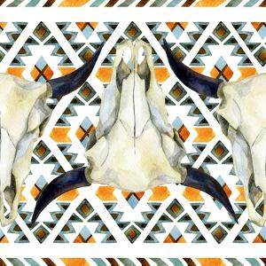 Tribal Geometric Buffalo Skull by tanycya