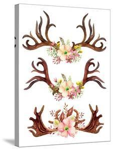 Watercolor Antler with Flowers, Leaves and Herbs by tanycya