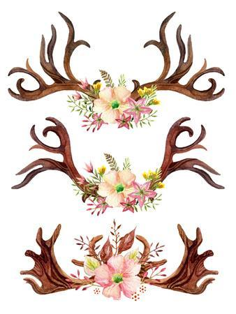 Watercolor Antler with Flowers, Leaves and Herbs