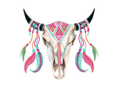 Watercolor Cow Skull by tanycya