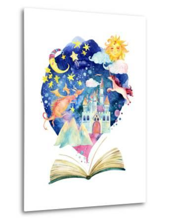 Watercolor Open Book with Magic Cloud by tanycya